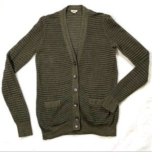 Fossil heathered olive green open knit cardigan XS